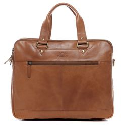 SID & VAIN Laptoptasche YANN Premium Smooth hellbraun-cognac Businesstasche Laptoptasche