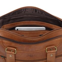 SID & VAIN Laptoptasche YANN Premium Smooth hellbraun-cognac Businesstasche Laptoptasche 7