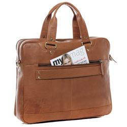 SID & VAIN Laptoptasche YANN Premium Smooth hellbraun-cognac Businesstasche Laptoptasche 3