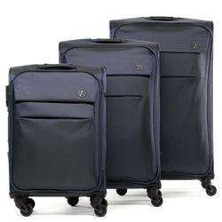 FERGÉ 3er Kofferset Calais Nylon dunkelblau 3er StoffKoffer Roll-Koffer 4 Rollen Kofferset 3-teilig Weichschale 1