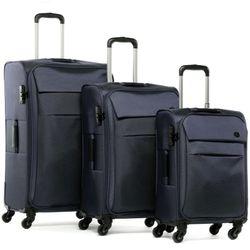 FERGÉ 3er Kofferset Calais Nylon dunkelblau 3er StoffKoffer Roll-Koffer 4 Rollen Kofferset 3-teilig Weichschale 3