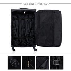 FERGÉ 3er Kofferset Calais Nylon dunkelblau 3er StoffKoffer Roll-Koffer 4 Rollen Kofferset 3-teilig Weichschale 4