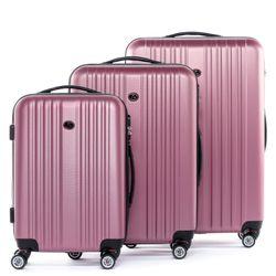 FERGÉ 3er Kofferset TOULOUSE ABS Dure-Flex pink 3er Hartschalenkoffer Roll-Koffer 4 Rollen Kofferset Hartschale 3-teilig