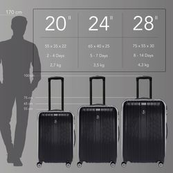 FERGÉ 3er Kofferset TOULOUSE ABS Dure-Flex lila 3er Hartschalenkoffer Roll-Koffer 4 Rollen Kofferset Hartschale 3-teilig 4