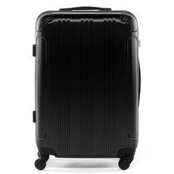 FERGÉ Handgepäck-Koffer QUÉBEC ABS Dure-Flex schwarz Reisekoffer Kabinen-Trolley 4 Rollen Handgepäck-Koffer Hartschale