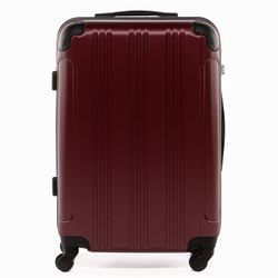 FERGÉ Handgepäck-Koffer QUÉBEC ABS Dure-Flex Burgundrot Reisekoffer Kabinen-Trolley 4 Rollen Handgepäck-Koffer Hartschale