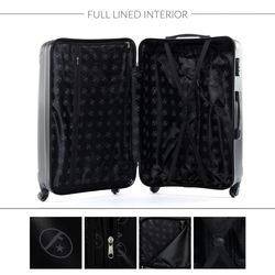 FERGÉ Handgepäck-Koffer QUÉBEC ABS Dure-Flex Burgundrot Reisekoffer Kabinen-Trolley 4 Rollen Handgepäck-Koffer Hartschale 5