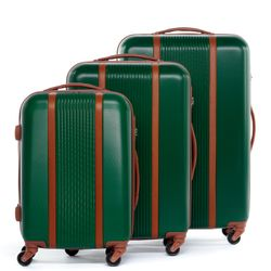 FERGÉ 3xTrolley-single - 3 sizes - xb-05 - MILANO green-brown ABS-Leather