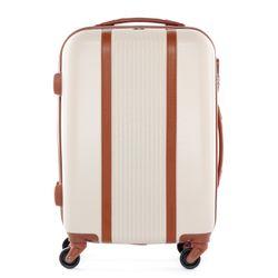 FERGÉ Handgepäck-Koffer MILANO ABS Dure-Flex camel-beige Reisekoffer Kabinen-Trolley 4 Rollen Handgepäck-Koffer Hartschale
