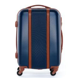FERGÉ Handgepäck 55 cm Hartschale blau-braun Reisekoffer Kabinentrolley 4 Rollen 360° Handgepäck-Koffer Hartschale 55 cm