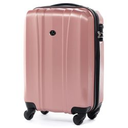 FERGÉ carry-on trolley Dijon -XB-04-20- suitcase hard-top case ABS&PC - pink-aluminium-wire
