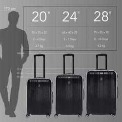 FERGÉ 3er Kofferset erweiterbar TOULOUSE ABS Dure-Flex schwarz 3er Hartschalenkoffer Roll-Koffer 4 Rollen Kofferset Hartschale 3-teilig erweiterbar 4