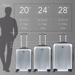 FERGÉ Handgepäck-Koffer CANNES ABS Dure-Flex Full Black Reisekoffer Kabinen-Trolley 4 Rollen Handgepäck-Koffer Hartschale 4