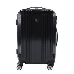 FERGÉ Handgepäck-Koffer CANNES ABS Dure-Flex Full Black Reisekoffer Kabinen-Trolley 4 Rollen Handgepäck-Koffer Hartschale 1