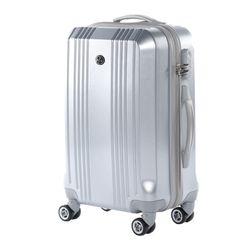 FERGÉ Handgepäck-Koffer CANNES ABS Dure-Flex Silver Metal Optik Reisekoffer Kabinen-Trolley 4 Rollen Handgepäck-Koffer Hartschale 2