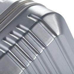 FERGÉ Handgepäck-Koffer CANNES ABS Dure-Flex Silver Metal Optik Reisekoffer Kabinen-Trolley 4 Rollen Handgepäck-Koffer Hartschale 5