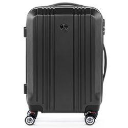 FERGÉ Handgepäck-Koffer CANNES ABS Dure-Flex anthrazit Metal Optik Reisekoffer Kabinen-Trolley 4 Rollen Handgepäck-Koffer Hartschale