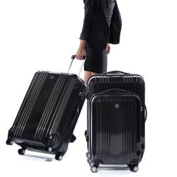 FERGÉ Handgepäck-Koffer CANNES ABS Dure-Flex anthrazit Metal Optik Reisekoffer Kabinen-Trolley 4 Rollen Handgepäck-Koffer Hartschale 7