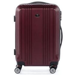 FERGÉ Handgepäck-Koffer CANNES ABS Dure-Flex Burgundrot Reisekoffer Kabinen-Trolley 4 Rollen Handgepäck-Koffer Hartschale