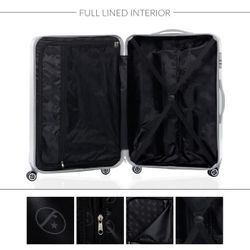FERGÉ XL Koffer CANNES ABS Dure-Flex Silver Metal Optik Hartschalenkoffer Trolley 4 Rollen XL Großer Koffer Hartschale 5