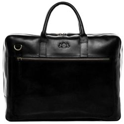 SID & VAIN Laptoptasche DIXON Premium Smooth schwarz Businesstasche Laptoptasche
