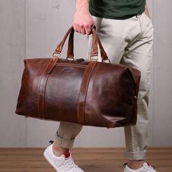SID & VAIN XL Reisetasche ZANE Natur-Leder braun-cognac Sporttasche groß Reisetasche 9