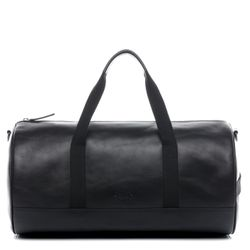 SID & VAIN travel bag carry-all  FINLAY  weekender duffel bag M black Smooth Leather overnight duffle bag hold-all