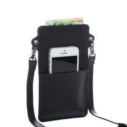 FEYNSINN Handy Brustbeutel STINE Premium Smooth schwarz Umhängetasche Brustbeutel 4