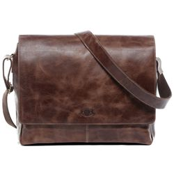 SID & VAIN Messenger Bag Distressed Leder vintage-braun Businesstasche Laptoptasche Messenger Bag