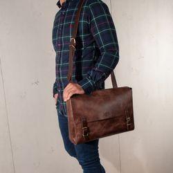 SID & VAIN Messenger bag DUNCAN Distressed Leder vintage-braun Laptoptasche Messenger bag 6