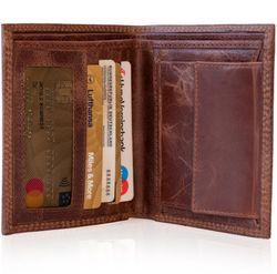 SID & VAIN Geldbeutel Distressed Leder vintage-braun Brieftasche Geldbeutel 2