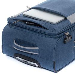 FERGÉ 3er Kofferset erweiterbar Saint-Tropez Denim-Style grau und dunkelgrau 3er Stoffkoffer Roll-Koffer 4 Rollen Kofferset Weichschale 3-teilig erweiterbar 4