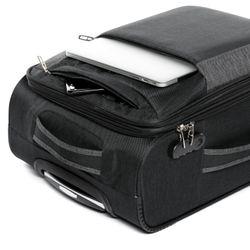 FERGÉ 3er Kofferset erweiterbar Saint-Tropez Denim-Style schwarz-grau 3er Stoffkoffer Roll-Koffer 4 Rollen Kofferset Weichschale 3-teilig erweiterbar 3
