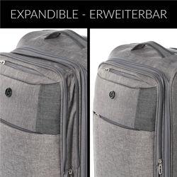 FERGÉ 3er Kofferset erweiterbar Saint-Tropez Denim-Style schwarz-grau 3er Stoffkoffer Roll-Koffer 4 Rollen Kofferset Weichschale 3-teilig erweiterbar 4