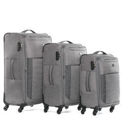 FERGÉ Kofferset 3-teilig erweiterbar Weichschale grau und dunkelgrau Trolley-Set Stoffkoffer 4 Rollen 360° Kofferset Weichschale 3-teilig erweiterbar 2