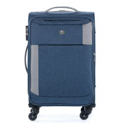 FERGÉ Handgepäck-Koffer Saint-Tropez Bordgepäck-Trolley Weichschale carry-on Nylon-Denim Koffer Leicht Stoffkoffer Kabinentrolley 4 Rollen (360°)