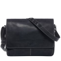 SID & VAIN Messenger Bag Büffelleder schwarz Businesstasche Laptoptasche Messenger Bag