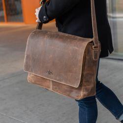 SID & VAIN Messenger Laptoptasche SPENCER Büffelleder hellbraun Businesstasche Laptoptasche Messenger Bag 6