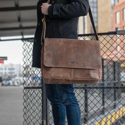 SID & VAIN Messenger Laptoptasche SPENCER Büffelleder hellbraun Businesstasche Laptoptasche Messenger Bag 5