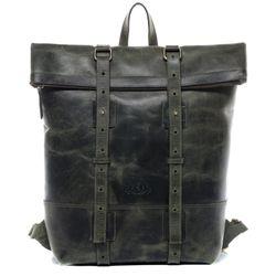 SID & VAIN Rucksack Roll Top CHAZ Büffelleder grün Backpack Tagesrucksack Kurierrucksack Rucksack