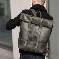 SID & VAIN Rucksack Roll Top CHAZ Büffelleder grün Backpack Tagesrucksack Kurierrucksack Rucksack 5