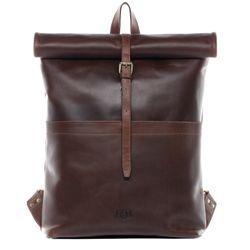 SID & VAIN Rucksack Roll Top CLAY Premium Smooth braun Backpack Tagesrucksack Kurierrucksack Rucksack