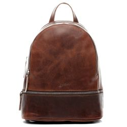 BACCINI daybag knapsack Natural Leather brown-cognac backpack Shoulder Bag