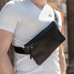 FEYNSINN Bumbag SJARD Premium Smooth schwarz Bauchtasche aus Leder Hüfttasche 6