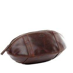 SID & VAIN Football Kulturtasche ISAAC Natur-Leder braun-cognac Kulturbeutel Kulturtasche American Football