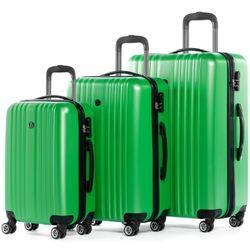 FERGÉ 3er Kofferset erweiterbar TOULOUSE ABS Dure-Flex Apfel-Grün 3er Hartschalenkoffer Roll-Koffer 4 Rollen Kofferset Hartschale 3-teilig erweiterbar