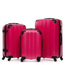 FERGÉ 3er Kofferset QUÉBEC ABS Dure-Flex pink 3er Hartschalenkoffer Roll-Koffer 4 Rollen Kofferset Hartschale 3-teilig 3