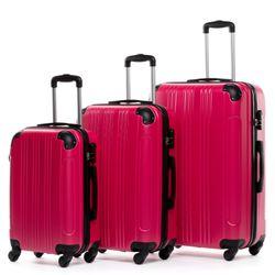 FERGÉ 3er Kofferset QUÉBEC ABS Dure-Flex pink 3er Hartschalenkoffer Roll-Koffer 4 Rollen Kofferset Hartschale 3-teilig 5