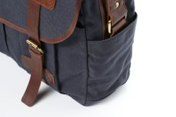 SID & VAIN Messenger bag CHASE Canvas & Leder blau-braun Laptoptasche Messenger bag 6