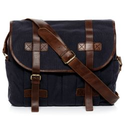 SID & VAIN Messenger bag CHASE Canvas & Leder blau-braun Laptoptasche Messenger bag